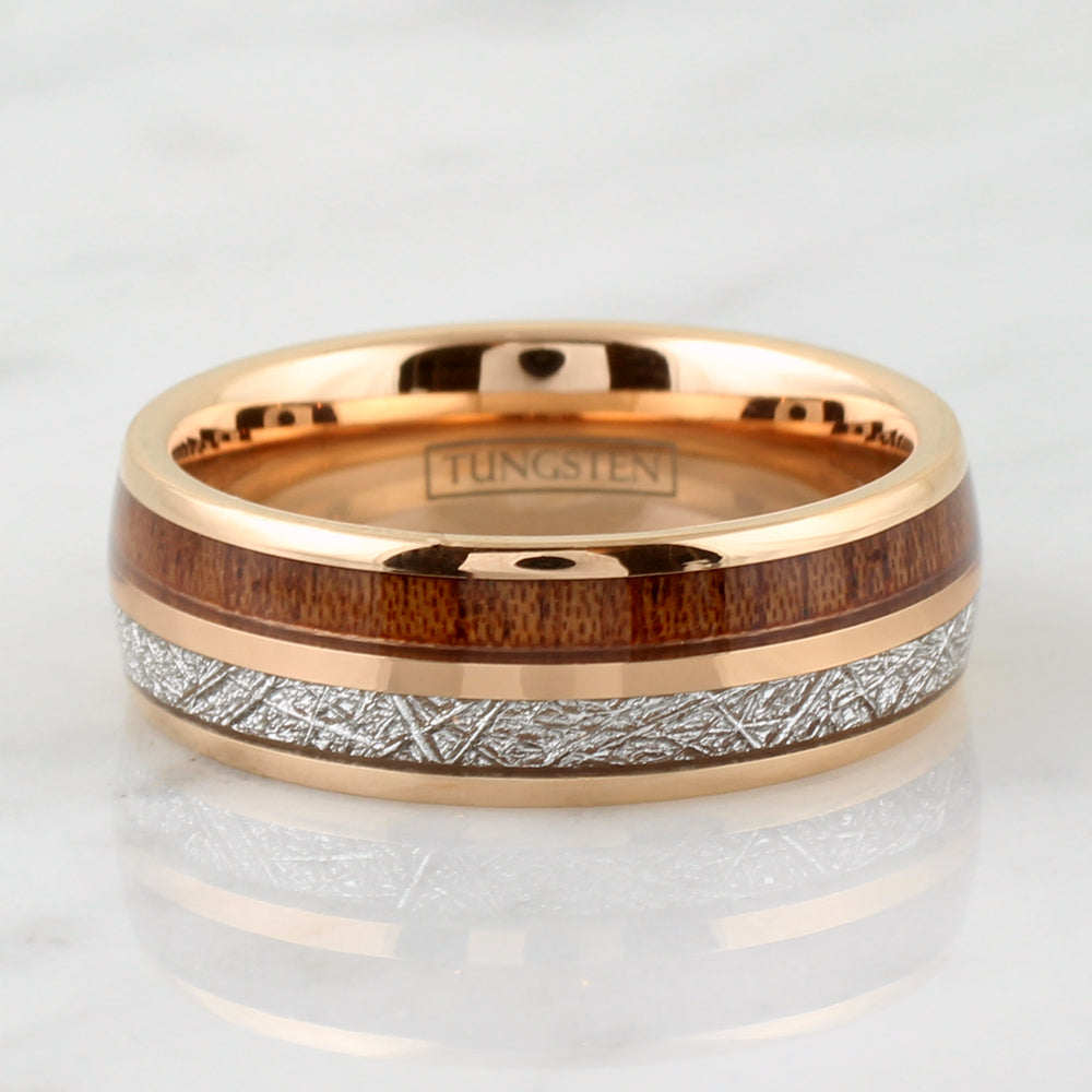 Tungsten 8mm Gold Domed Ring With Dual Inlaid Meteorite and Koa Wood