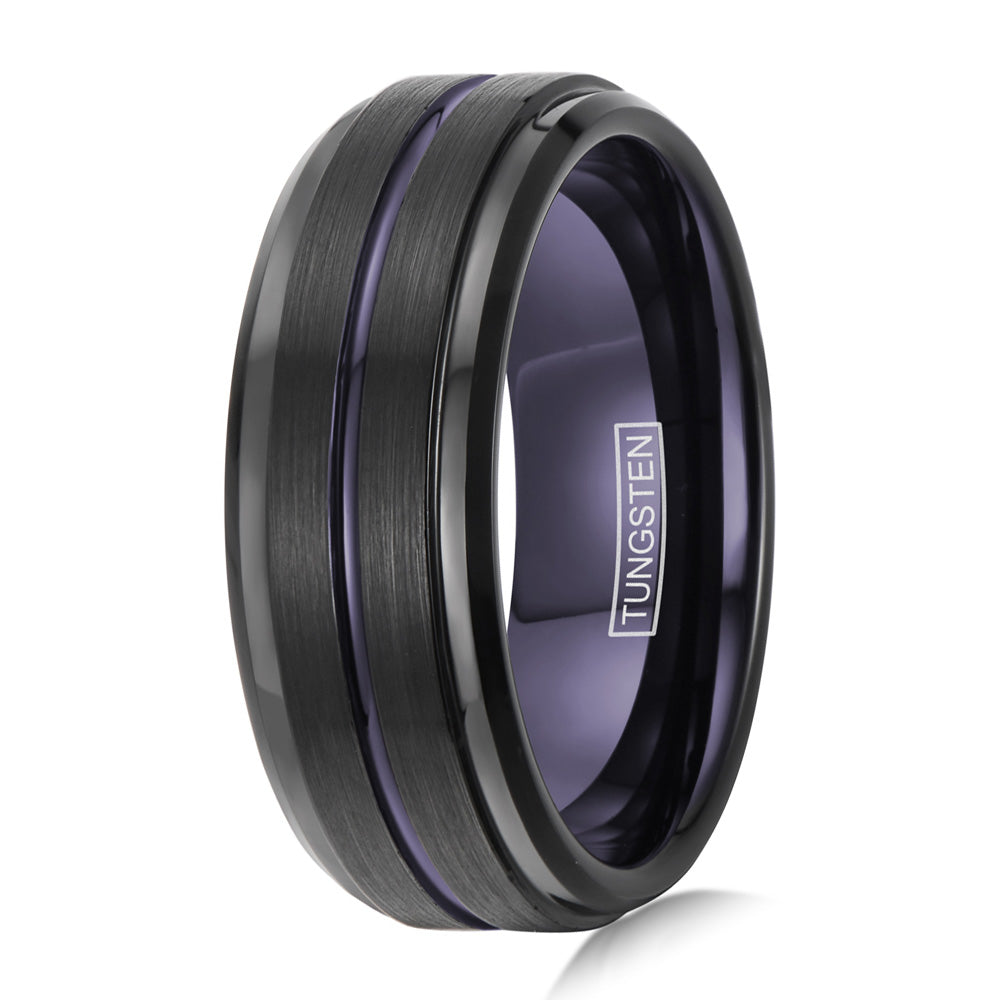 black tungsten celtic dragon ring blue inlay. wholesale - 925express