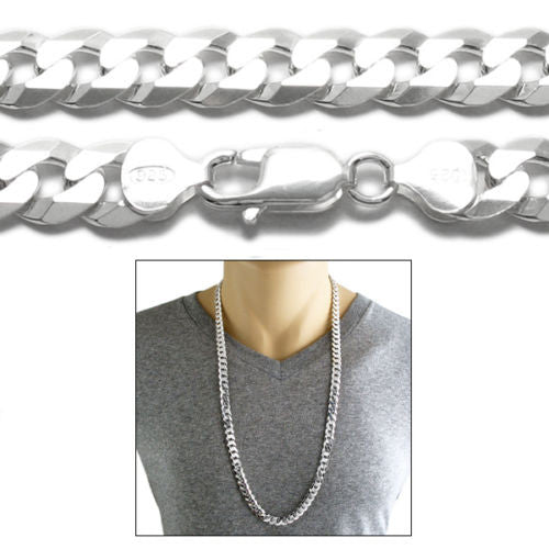 45455fed0c2 Sterling Silver Cuban Curb FLAT Chain Necklace 9mm (Gauge 250). Available  in 3 Lengths.