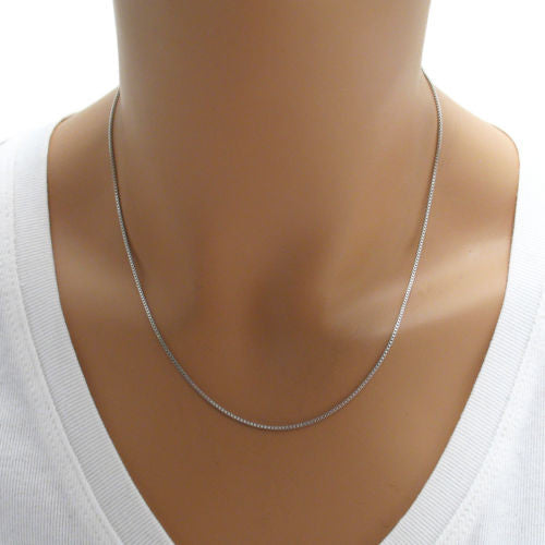 1.2mm Sterling Silver Box Chain Necklace