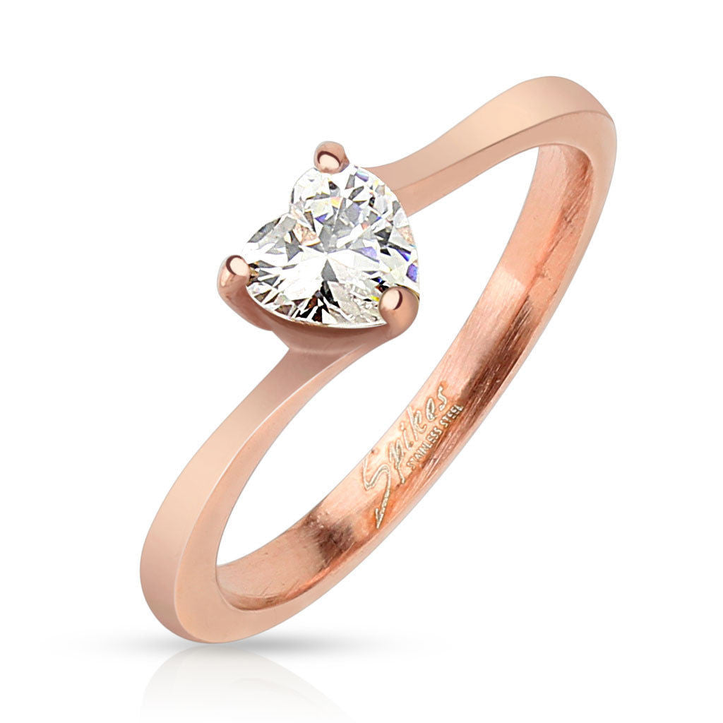5acbde1548 Cute rose gold plated band with heart shaped CZ | Wholesale stainless steel  rings - Jewelry ...