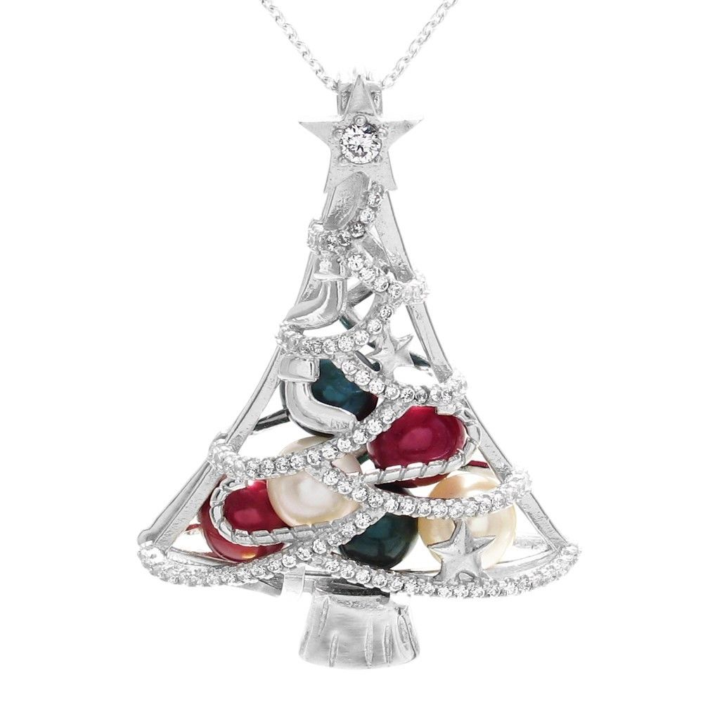 beautiful and charming 925 sterling silver christmas tree with cz accented tinsel pearl cage pendant - The Christmas Pearl