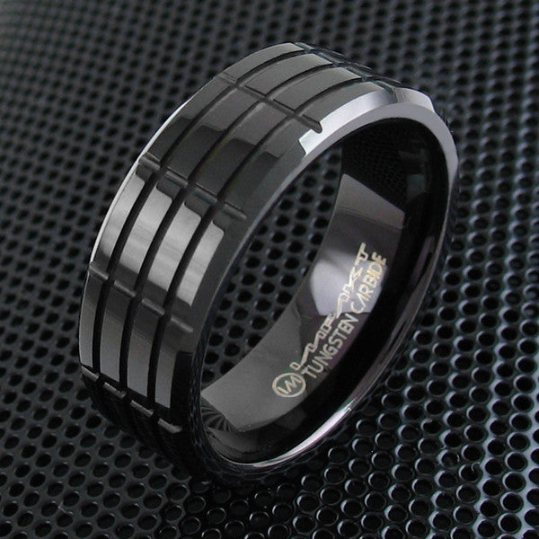 Crossed Wedding Bands.Minimalist Matte Black Tungsten Band With Crisscrossed Channels And Grooves For Men And Women Couple Ring