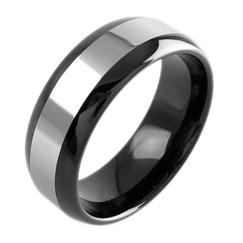 elegant tungsten ring in black with a silver band inlay wholesale tungsten rings tungsten - Tungsten Wedding Rings For Men