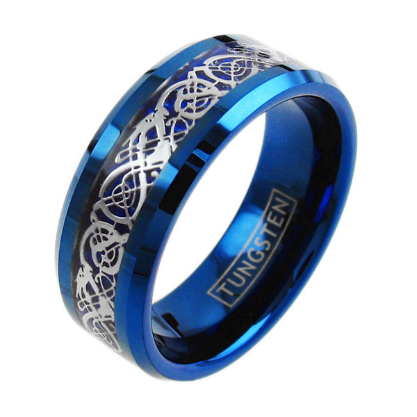 Silver Celtic Dragon On Blue Tungsten Ring Wholesale
