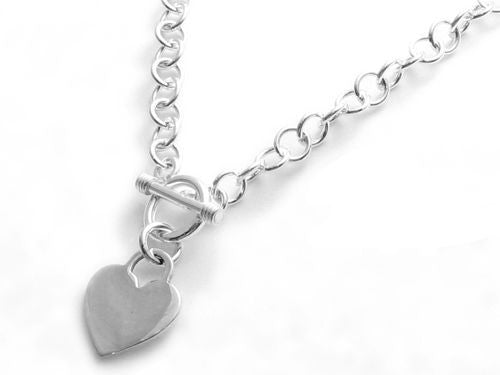 925 Sterling Silver Engraveable Heart Toggle Chain Necklace Pendant Charm