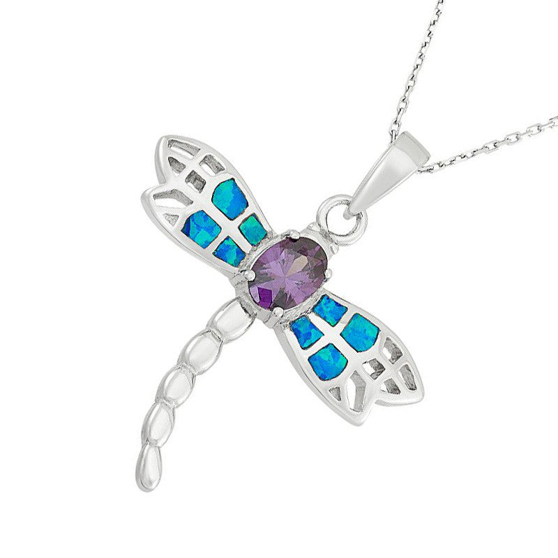 925 silver opal amethyst dragonfly pendant wholesale 925express beautiful sterling silver created blue opal amethyst dragonfly pendant aloadofball Image collections