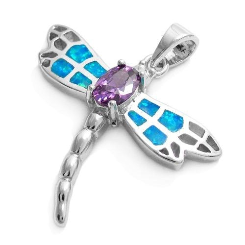 925 silver opal amethyst dragonfly pendant wholesale 925express colorful created opal and amethyst dragonfly pendant wholesale sterling silver jewelry main photo aloadofball Image collections