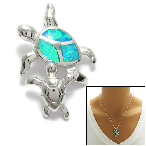Sterling silver created opal mother and baby turtle pendant lovely created opal mother and baby turtle pendant wholesale 925 sterling silver pendant jewelry aloadofball Gallery