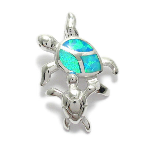 Sterling silver created opal mother and baby turtle pendant lovely created opal mother and baby turtle pendant wholesale 925 sterling silver pendant jewelry aloadofball Image collections