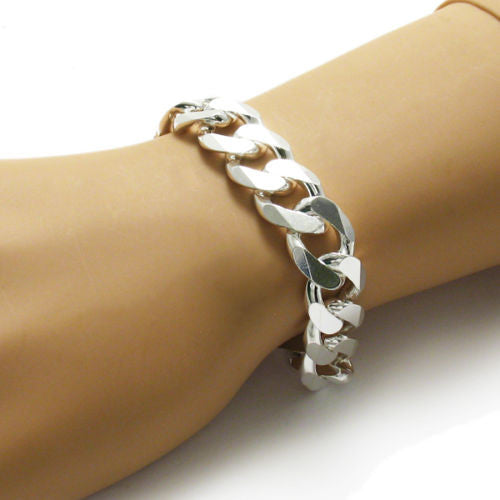 ... Refined Cuban Link Chain Bracelet -15mm - Wholesale 925 Sterling Silver Jewelry - Alternate