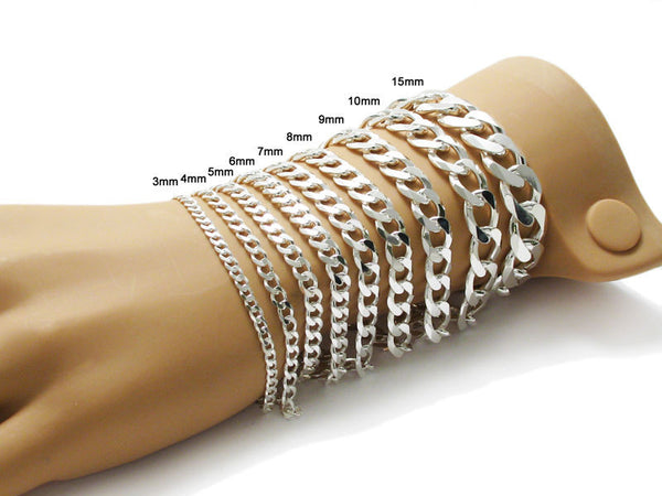 f352dc57a1233 Charming Sterling Silver Cuban Link Chain Bracelet - 8 Inch