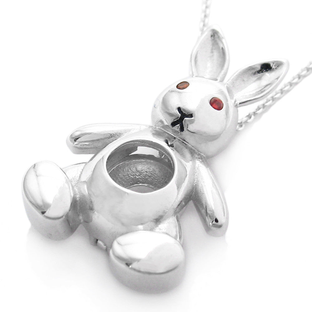 Silver Yellow Plated Rabbit With Hearts Charm 23mm