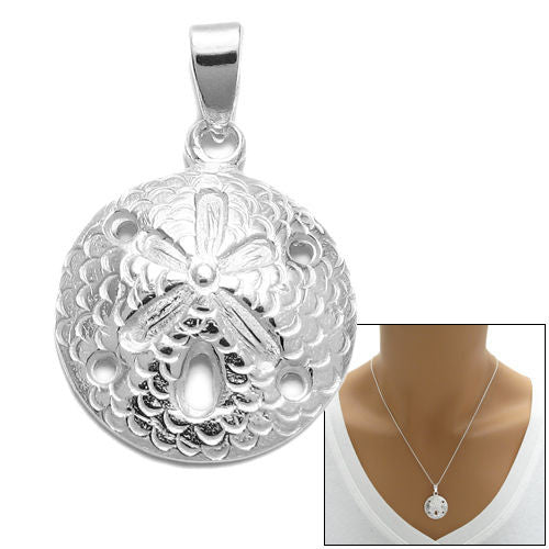 Sterling silver sand dollar pendantcharm wholesale 925express adorable and well detailed sand dollar pendant wholesale 925 sterling silver jewelry combo photo aloadofball Images