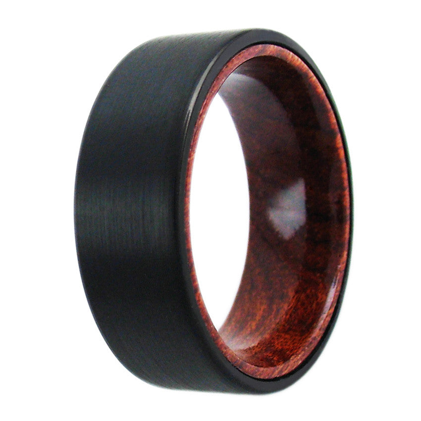 Black Tungsten Flat Ring W Wood Inner Band Wholesale