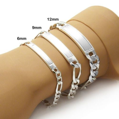 Stunning Engravable Brushed Center Figaro ID Bracelet   Wholesale 925  Sterling Silver Jewelry   Main ... 2e0e0b380a84