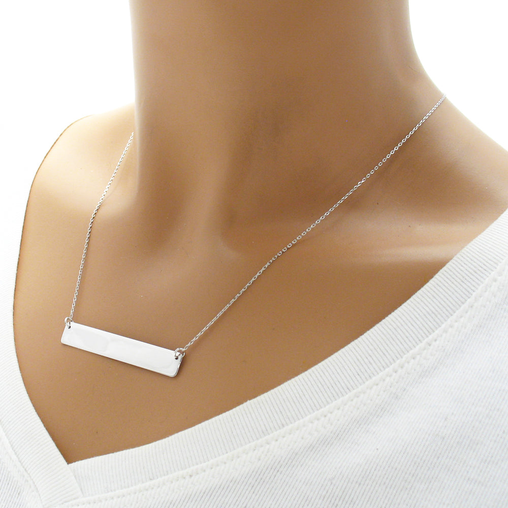 original lisaangeljewellery personalised bar necklace in horizontal silver flat product