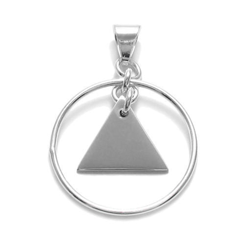 Sterling silver engravable triangle pendant in frame 925express engravable triangle pendant in circle frame wholesale sterling silver jewelry item photo mozeypictures Images