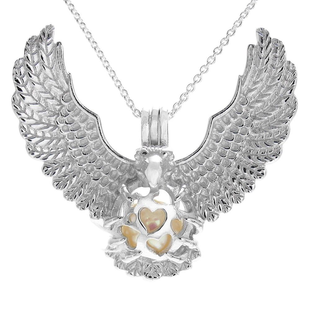 Beautiful sterling silver feathered dream catcher pearl cage pendant glorious 925 sterling silver eagle spreading wings pearl cage pendant mozeypictures Gallery