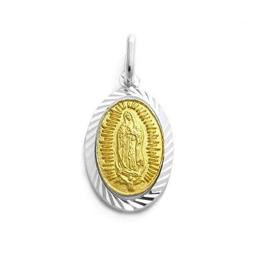 18-Inch Rhodium Plated Necklace with 4mm Light Rose Birthstone Beads and Sterling Silver Our Lady of Guadalupe Charm.