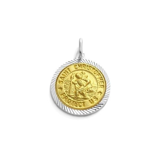 Beautiful sterling silver gold st christopher pendant wholesale beautiful gold saint christopher protect us pendant 15mm wholesale 925 sterling silver aloadofball Gallery
