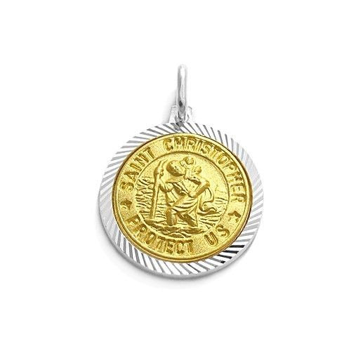 Beautiful sterling silver gold st christopher pendant wholesale beautiful gold saint christopher protect us pendant 18mm wholesale 925 sterling silver aloadofball Image collections