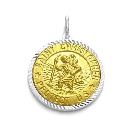 Beautiful sterling silver gold st christopher pendant wholesale beautiful gold saint christopher protect us pendant 20mm wholesale 925 sterling silver aloadofball Gallery