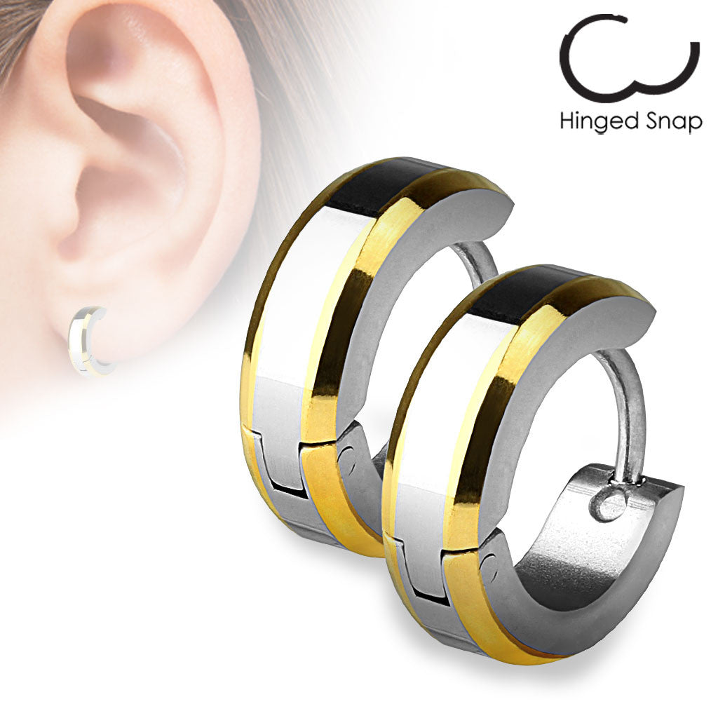 Hinged Huggie Earrings With Beveled 14k Gold Plated Edges  Wholesale 316l  Stainless Steel Jewelry