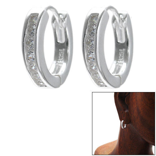Genuine Sterling Silver Huggies Earrings Earrings 15mm mNf3qMKzy3