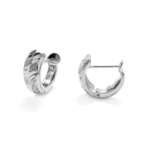 Sterling Silver Huggie Earrings Sparkle Finish Dc Lines Wholesale 925express
