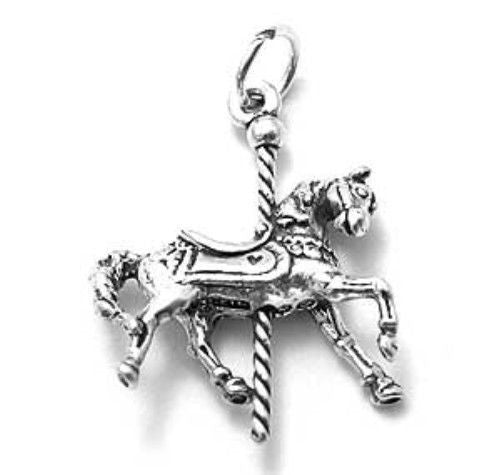 Exquisite horse carousel charm in sterling silver wholesale exquisite horse carousel charm wholesale 925 sterling silver pendant jewelry main mozeypictures Image collections