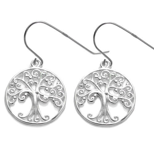 e2e630073 Intricate filigree Tree of Life in Circle hanging earrings | Wholesale 925 Sterling  Silver Jewelry ...