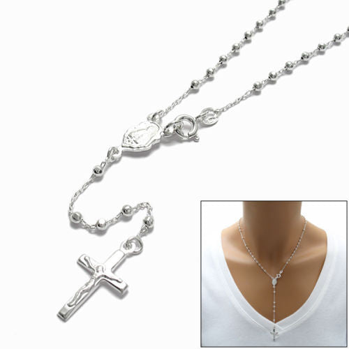 925 Sterling Silver Polished Crucifix Beaded Rosary Chain Necklace 24