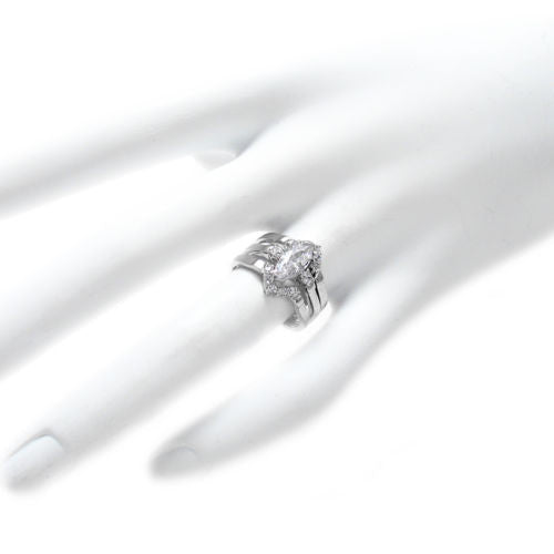 Sterling Silver Marquise CZ 3Band EngagementWedding Ring