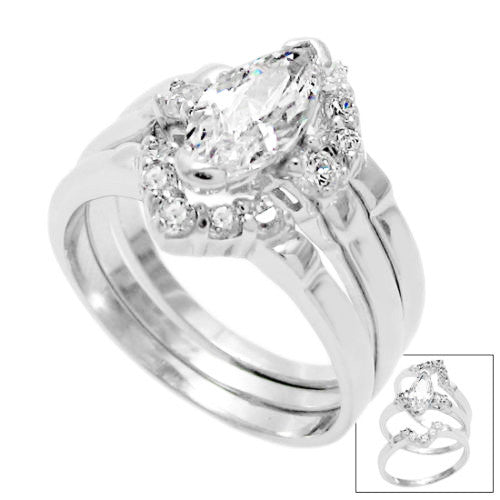 marquise cut cz 3 band weddingengagement ring set wholesale 925 sterling silver - Wedding Engagement Ring Sets