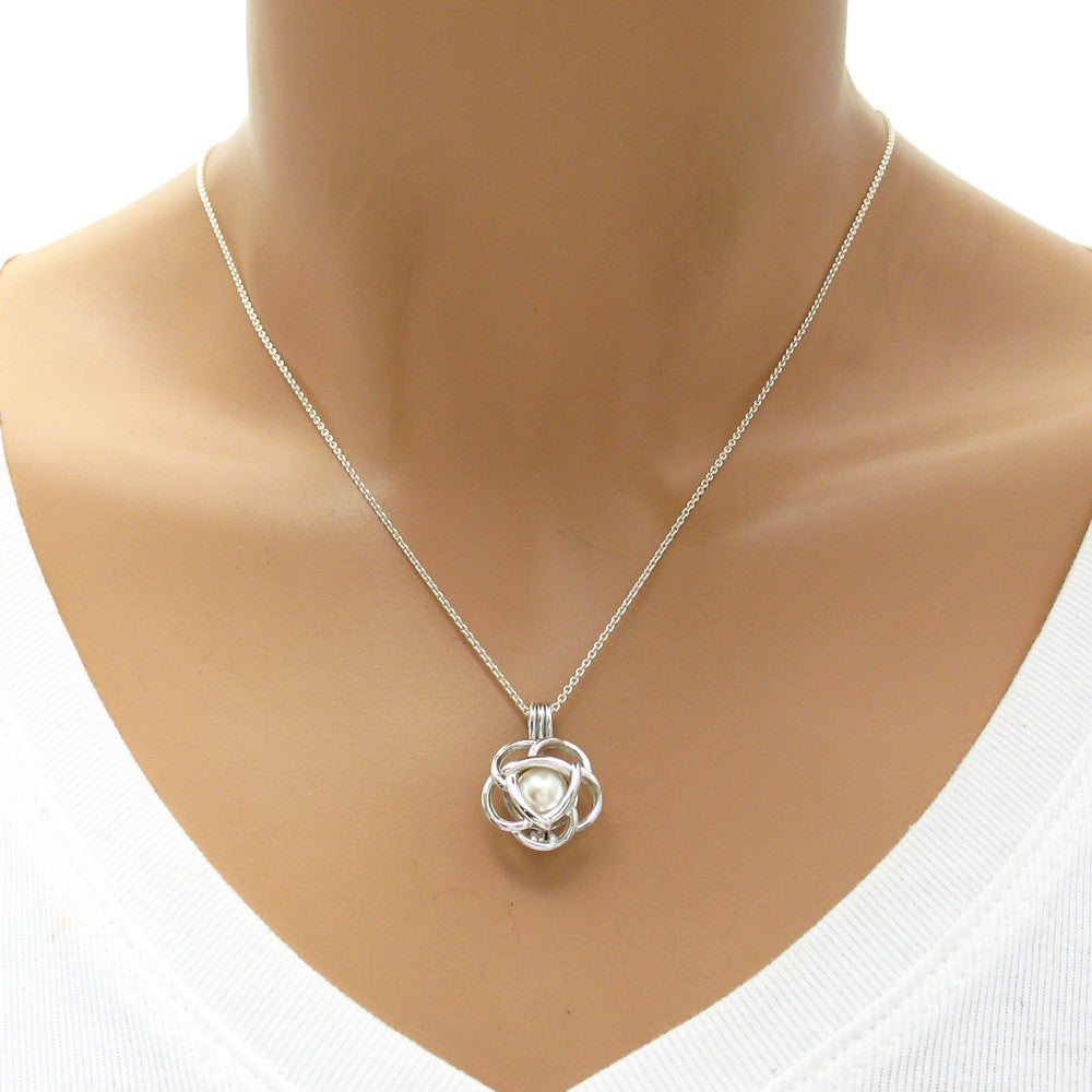 Modern Minimalist Sterling Silver Wire Rose Pearl Cage. - 925Express