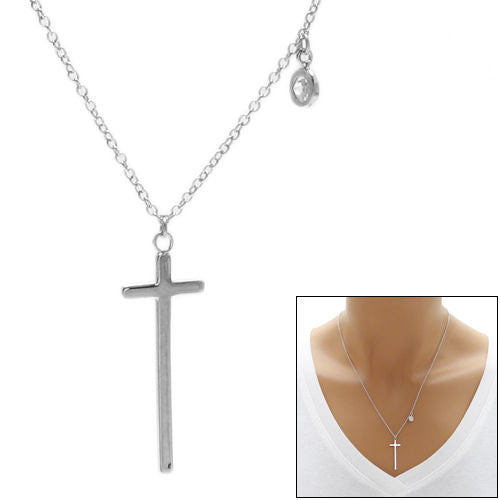 Chic sterling silver cross pendant necklace with 025 ct cz chic and plain cross pendant necklace with 025 carat cz wholesale 925 sterling silver pendant aloadofball Images