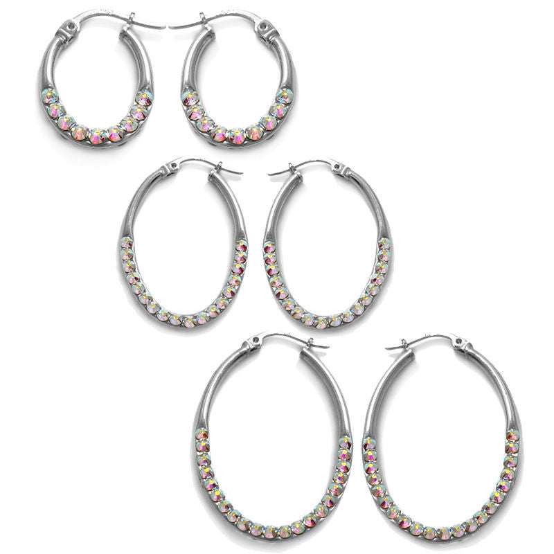bcd9b85dd95a7 Sterling Silver Rainbow Crystal Oval Earrings. 3 Sizes - 925Express