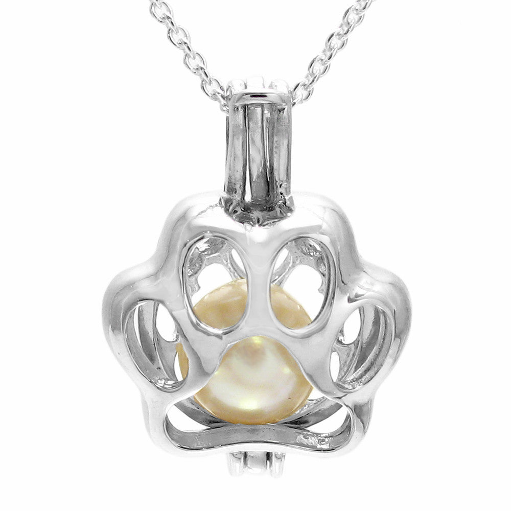 Super cute 925 sterling silver dogs paw print pearl cage pendant cute sterling silver dogs paw print pearl cage pendant wholesale 925 sterling silver jewelry aloadofball Images