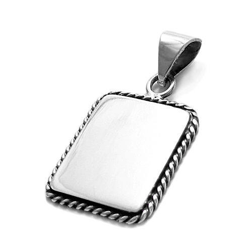 925 silver engravable rectangle pendant rope border 925express engravable rectangle pendantcharm with rope border wholesale sterling silver jewelry item photo aloadofball Gallery