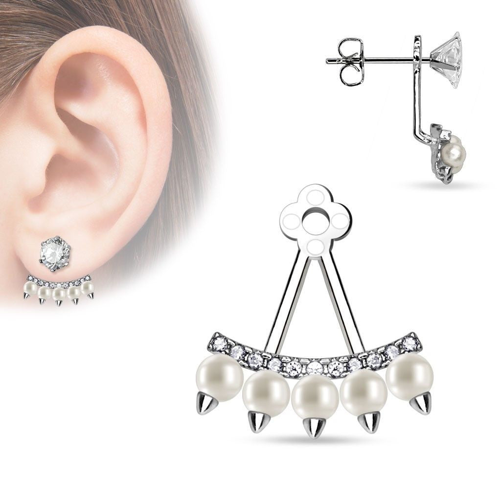 Spiked Earring Jackets With Faux Pearl & Cz Accents  Wholesale Fashion  Jewelry & Accessories