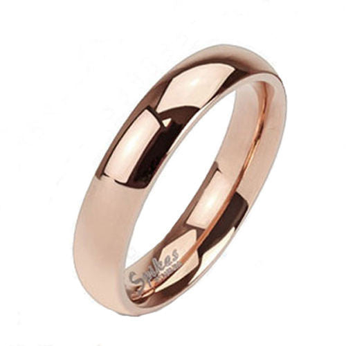 68572a658 Modern Classic Ion Plated Rose Gold Polished Titanium Band Style Ring.  Available in 4mm and 6mm. Couple Ring