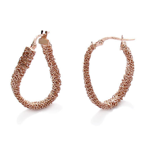 925 Sterling Silver Rose Gold Tangled Mesh Wire Round Hoop Earrings 20mm