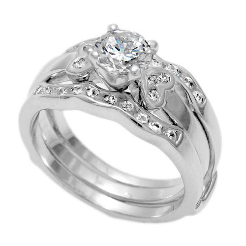 round cz integrated wedding set w pave czs wholesale 925 sterling silver rings