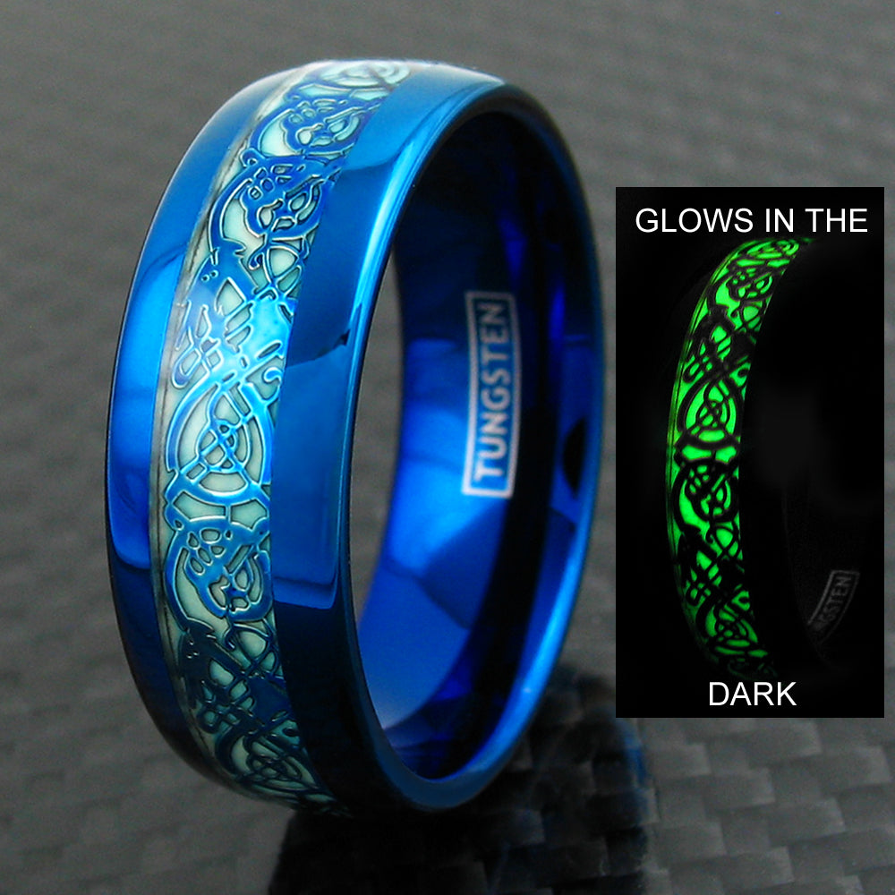 Royal Blue Tungsten Ring W Blue Celtic Dragon Glow In The