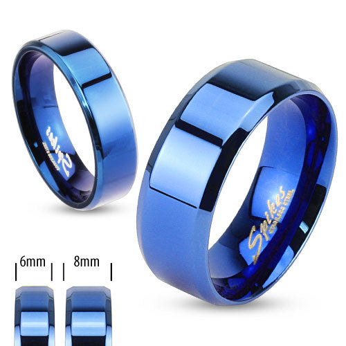 Cobalt Blue Beveled Stainless Steel Band RingWholesale 925Express