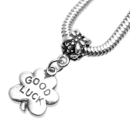 Chainsaw Good Luck and Clover 3 Bead Necklace