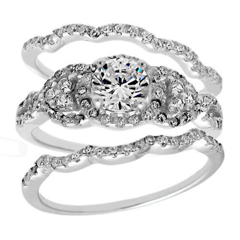 1.68 Carat CZ Engagement Ring 3 Piece Wedding Band Set In Sterling Silver.