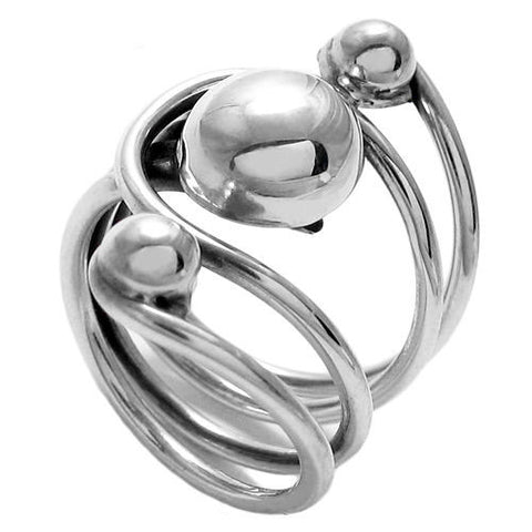 eeadba057 Unique and Artistic Three Ball in Slots Ring. Wholesale Sterling Silver  Rings. Standard View