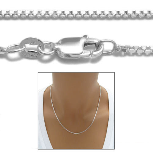 1.5mm 030 Gage Heavy Box Sterling Silver Italian Chain Necklace